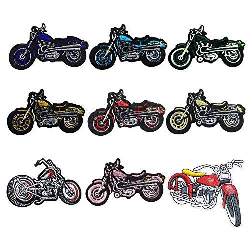 Woohome Motocicleta Parche de Ropa, 9 Pz Coche Patch Sticker, Parches Ropa Termoadhesivos Búho Bufandas para Ropa, Mochila, Gorras, Repara El Palo de Agujero