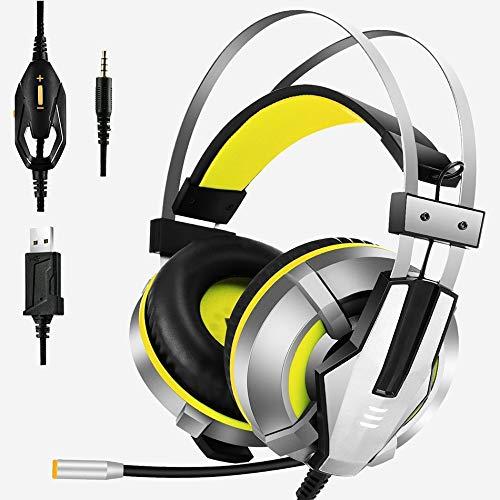 YUIK koptelefoon, zacht, over-ear gaming koptelefoon, blauw, geel, met rotatie, Mic LED, voor PC Xbox PS4, Geel