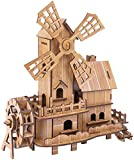 Chiyuehe Wooden Puzzles Model Kits Dutch Windmill Assembled Educational Toys 3D Puzzle Challenge Gift for Adults Kids