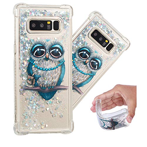 LEECOCO Case for Samsung Note 8 Bling Glitter Liquid Sparkle Floating Crystal Floral Printing Flower TPU Silicone Rubber Bumper Shockproof Protective Case Cover for Samsung Galaxy Note 8 YB-LS Owl