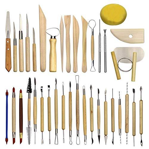 38 Piezas Herramientas de modelado de arcilla Set Ball Stylus Dotting Tools Herramienta de escultura de Arcilla de cerámica de madera Para tallado de arcilla /Cera / Tallado de madera / Art DIY