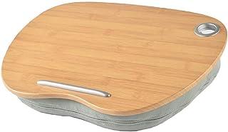[シーポッシュ]膝上 テーブル クッション ラップトップデスク 枕 寝ながら 読書 車内作業用 机 40x30 木目調 贈り物(グレー)