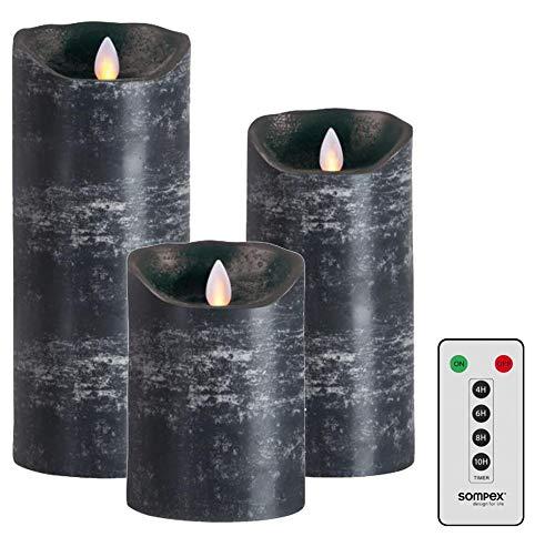 3er SET! Sompex Flame LED Echtwachs Kerze / Kerzen FERNBEDIENBAR V14 Anthrazit (Schwarz Grau) 8 x 12,5cm - 8 x 18cm - 8 x 23cm - MIT FERNBEDIENUNG! Bundle inklusive Fernbedienung! (3er Set)