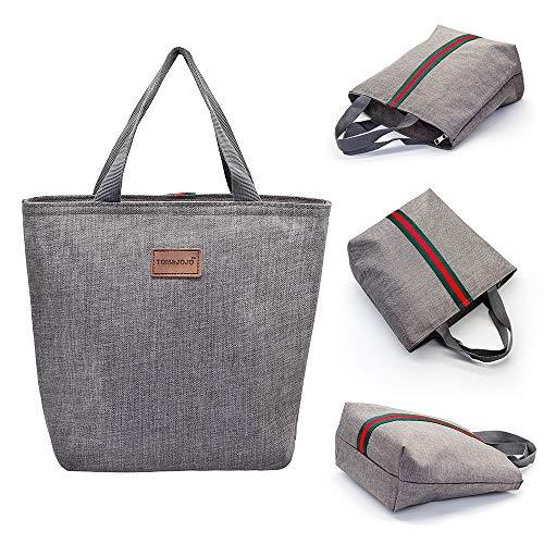 Oyeld Insulated Lunch Bag Einkaufstasche Kühltasche Wasserdichter, Thermisch auslaufsicherer Lunch Organizer Picknick im Freien (Gray)
