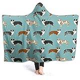 FENTINAYA Manta con capucha para perros de pastores australianos, 3D colorido impreso air-acondicionado, manta de regalo de franela ligera para sofá de 152 x 127 cm