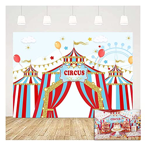 Red White Circus Carnival Carousel Big Top Tent First 1st Photo Background 7x5ft Children Boys and Girls Birthday Party Kids Baby Shower Photography Backdrops Cake Table Decor Props Vinyl