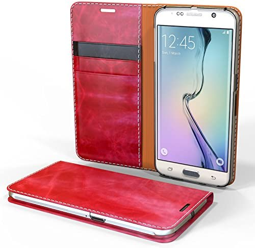 Galaxy S6 Edge Case Cellto GLux PU Leather Wallet Type Diary Cover w Card Slots Wine product image