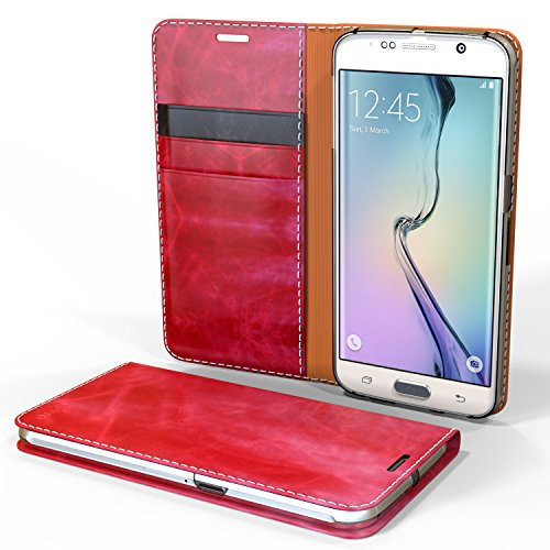 Galaxy S6 Edge Case - Cellto [GLux] PU Leather Wallet Type Diary Cover w/Card Slots - Wine