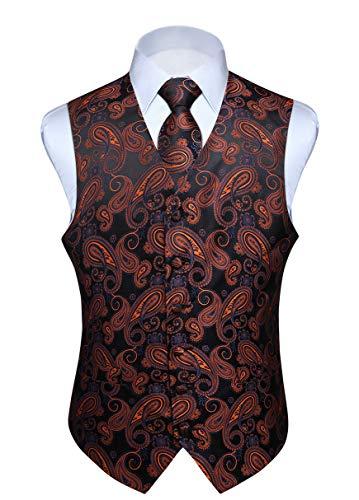 Hisdern Hisdern Manner Paisley Floral Jacquard Weste & Krawatte und Einstecktuch Weste Anzug Set, Orange und Schwarz, Gr.-L (Brust 46 Zoll)