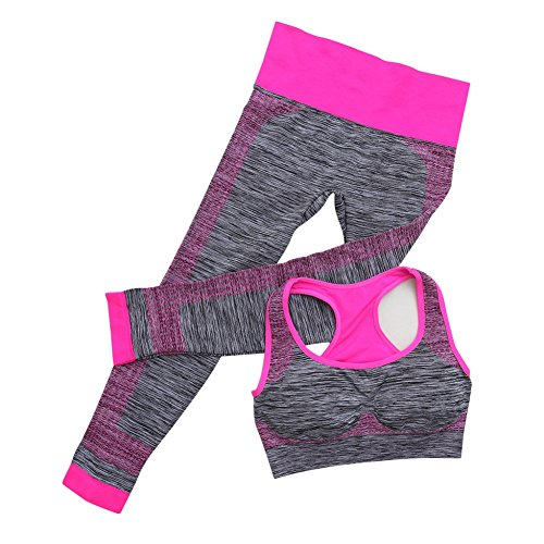 EFINNY Women's 2 Piece Fitness Sports Set Yoga Workout Seamless Sports Bra+Pants Leggings Set Rose Red