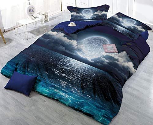 Bedding AX Housses de Couette Taies d'oreiller Ciel étoilé Lune de mer (1 Housse de Couette + 2 taies d'oreiller) 24 * 22cm