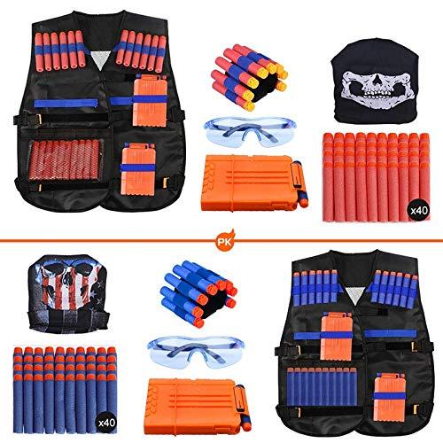 Expower Taktische Weste 2 Pack für Kinder, Jacke Set für Nerf Guns N-Strike Elite Serie, Taktische Weste Zubehör Set mit Nerf Bullets, Nachladeclips, Maske, Armband Schutzbrille (90pcs)
