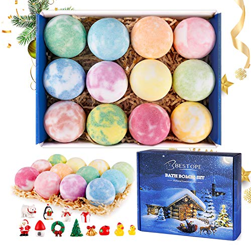 BESTOPE Christmas Bath Bombs for Kids with Toy...