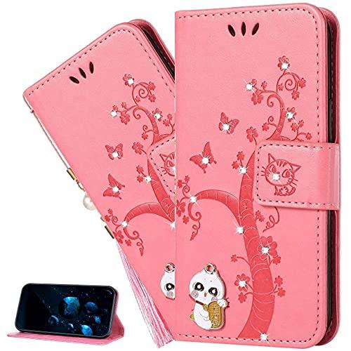 LEMAXELERS Funda Huawei Mate 30 Lite,Carcasa Huawei Mate 30 Lite,Glitter Brillante Diamante Gato En Relieve PU Premium Cover con Ranuras para Tarjetas Cierre magnético Funda Tipo Libro,YK DZ Cat Pink