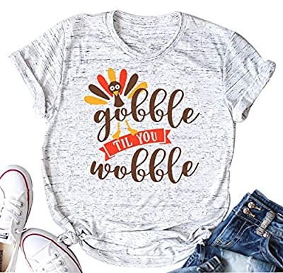 YUYUEYUE Gobble Til You Wobble Funny Thanksgiving Shirt Women Casual Short Sleeve T-Shirt Turkey Top Tee