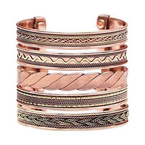 Crocon Exclusive Tibetan Copper Adjustable Magnetic Bangle Bracelets | set of 5 | Indian pattern | Unisex | Yoga | Jewelry | Spiritual | Gorgeous Collection | Ideal Gift