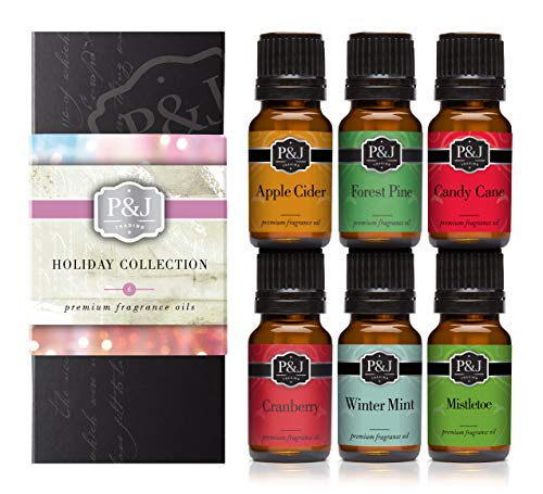 Holiday Set of 6 Premium Grade Fragrance Oils - Mistletoe, Candy Cane, Wintermint, Apple Cider, Cranberry, and Forest Pine - 10ml