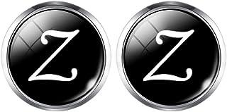 زوج واحد من أزرار الكم للرجال من جوكيل، أزرار أكمام واحدة بحرف واحد A Z أسود سفلي مطلي بالفضة لحفلات الزفاف 16 مم