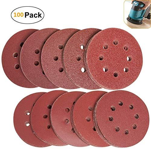 100 Stück Schleifscheiben Klett Schleifpapier Set 125 mm -je10xP40 P60 P80 P100 P120 P150 P180 P240 P320 P400 Mischkorn, 8 Löcher, für Exzenterschleifer Holz Holzwerkstoffe Spanplatte Metall