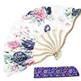 Abanico de mano de seda plegable bambú chino abanico japonés hermoso estampado hecho a mano regalo foto abanico decoración abanico para boda