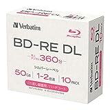 【Amazon.co.jp限定】Verbatim バーベイタム くり返し録画用 ブルーレイディスク BD-RE DL 50GB 10枚 1-2倍速 シルバーレーベル 5mmプラケース インデックスカード付き VBE260N10L-A