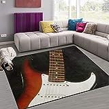 Naanle - Alfombra antideslizante para sala de estar, dormitorio, cocina, 50 x 80 cm, alfombra de yoga, diseño de guitarra musical, multicolor, 120 x 160 cm(4' x 5')