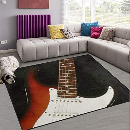 Naanle musica chitarra antiscivolo tappeto per per camera da letto, soggiorno, cucina 50x 80cm (1.7'x 2.6' ft), Music nursery tappeto pavimento tappetino yoga, Multi, 100 x 150 cm(3' x 5')