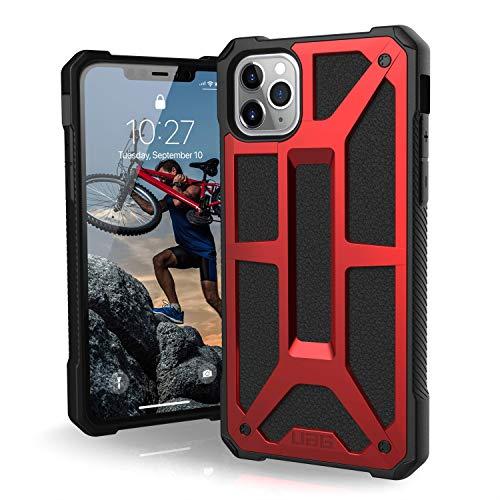 Urban Armor Gear Monarch Apple iPhone 11 Pro Max (6.5') Cover Protettiva Rugged Custodia (Compatibile Con il Qi Wireless, Ultra Slim Protezione Case, Antiurto, Cuoio) - rosso
