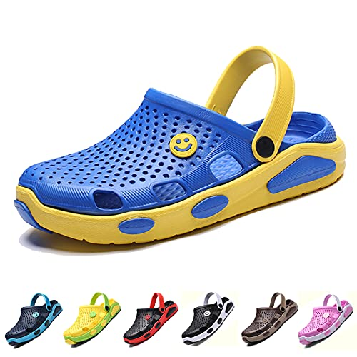 CYian Womens Mens Sandals Non Slip Slippers for Indoor and Outdoor Garden Mules Clogs Shoes with Elastic Strap,Bule Yellow-Women 10/Men 8