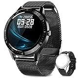 AIMIUVEISmartwatch, Orologio Fitness Uomo Cardiofrequenzimetro da Polso Contapassi e Calorie Impermeabile IP67 Cronometro Smart Watch, Activity Tracker per Android iOS Nero