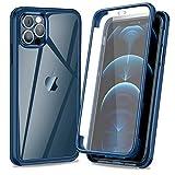 AROYI - Carcasa para iPhone 12 Pro Max con protector de pantalla integrado de cristal templado con funda de protección de 360 grados Full Body Funda antigolpes azul