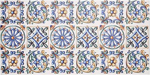 Baroni Tappeto Passatoia in Vinile da Cucina Decoro 60x120 Cm Maioliche Colorato in PVC Antiscivolo da Interno ed Esterno