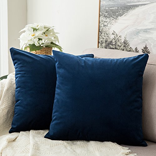 MIULEE Velvet Soft Soild Microfiber Decorative Square Pillow Case Throw Cushion Cover for Sofa Bedroom with Invisible Zipper 16x16 Inch 40x40cm Navy Blue Set of 2 Lined