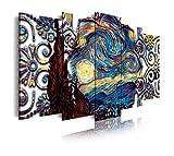 DekoArte 425 - Cuadros Modernos Impresión de Imagen Artística Digitalizada | Lienzo Decorativo Para Tu Salón o Dormitorio | Estilo Abstractos Arte Van Gogh La Noche Estrellada | 5 Piezas 150 x 80 cm