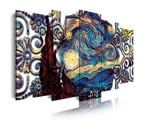 DekoArte - Cuadros Modernos Impresión de Imagen Artística Digitalizada | Lienzo Decorativo Para Tu Salón o Dormitorio | Estilo Abstractos Arte Van Gogh La Noche Estrellada | 5 Piezas 150 x 80 cm
