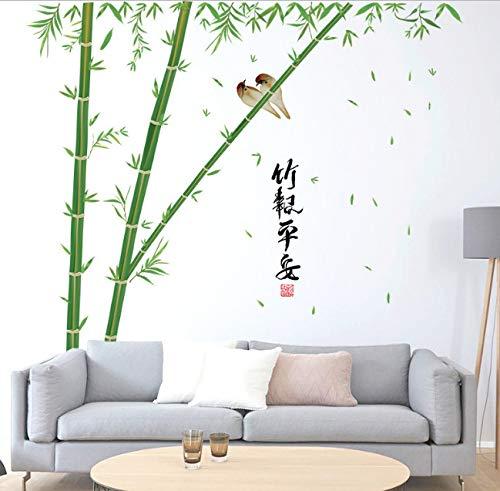 Hfwh muurstickers, Chinese stijl, grote bamboe, woonkamer, decoratie, muurstickers, groen, om zelf te maken, muurstickers, vintage wanddecoratie, 60 x 90 cm