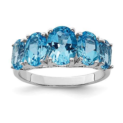 Diamond2deal Sterling argento luce svizzero blu topazio 5pietra anello di fidanzamento 6