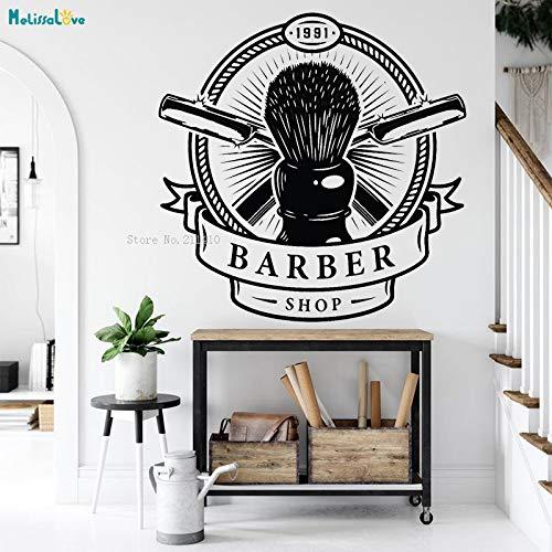 ASFGA Einzigartige kreative Haarschnitt Schönheitssalon Salon Wandkunst Aufkleber zu seinem personalisierten Shop Geschenk Rasierer Make-up Pinsel Aufkleber dekorative Kunst Wandbild 70x70cm
