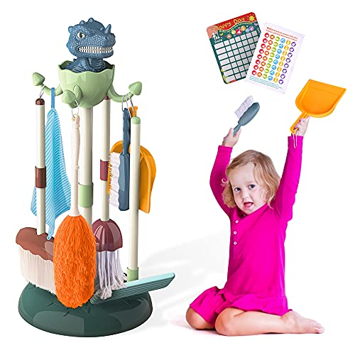 MaxTronic Kids Cleaning Set,Dinosaur Toys for Boys & Girls Age 3 to 6 Years Old Birthday Gift Pretend Kids Broom,Brush, Mop, Dustpan, Duster, Glass Cleaner, Detachable Dish Toddler Cleaning Play Set