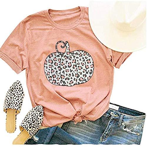 Woffccrd Womens Funny Leopard Pumpkin Printed Shirts Halloween Short Sleeve Graphic Tees Fall T-Shirts Tops (L, Orange)