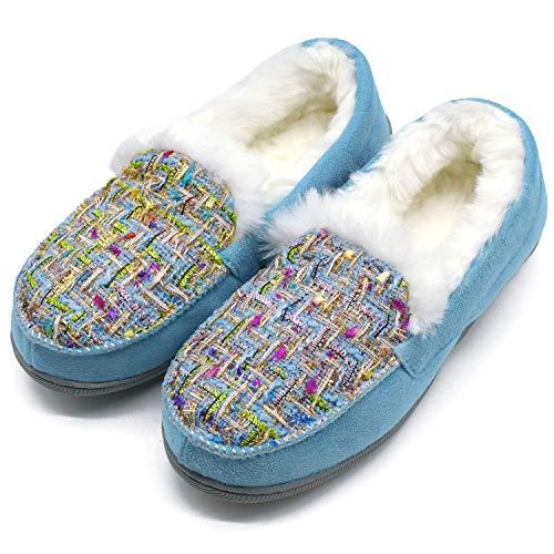 ONCAI Damen Memory Foam Plüsch Hausschuhe Mokassin Warme Winter Tweed Haus Pantoffeln für Drinnen Draußen Gummi Sohle,Blau 40 EU