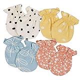 Grow by Gerber Baby Girls Organic 4-Pack Mittens, Orange/Yellow/Green/Ivory, Newborn