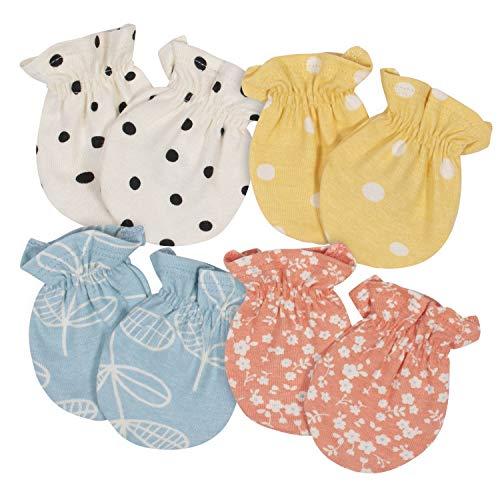 Grow by Gerber Baby Girls Organic 4-Pack Mittens, Orange/Yellow/Green/Ivory, 0-3 Months