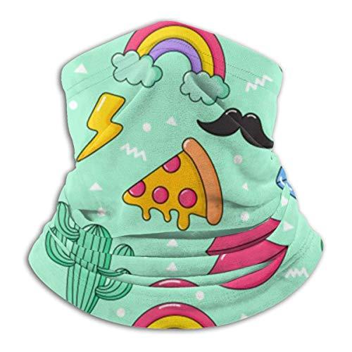 qulia Cartoon Anime Regenbogen Pizza Kaktus EIS Dessert Tier Pflanze Halswärmer Winter Fleece Hals Gamasche Skischlauch Schal Für Männer Frauen Kaltes Wetter Gesichtsbedeckung