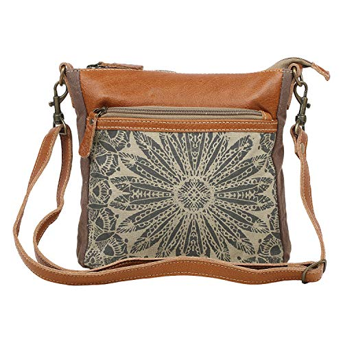 Myra Bag Dizzy Circle Upcycled Canvas & Leather Small Crossbody Bag S-1556, Brown,