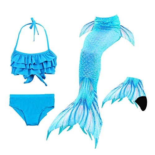 Le SSara Seemädchen Cosplay Bademode Mermaid Shell Badeanzug mit FIN Swimmable Mermaid Schwanz (140, DH53+WJF46-Black)