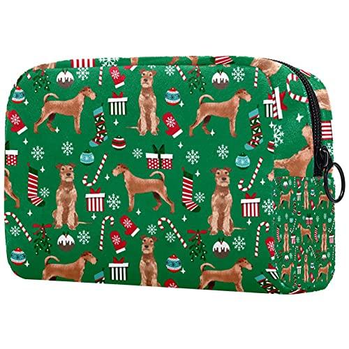 Trousse de Maquillage Organisation Rangement Cosmétique Portable Irish Terrier Christmas Candy Cannes Snowflakes pour Les Voyages Plein air