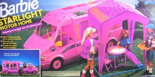 Barbie Starlight Motor Home rosa para Vehículo y autocaravana furgoneta con tienda de campaña y Trail Rider