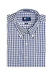 677223836 MagnaReady Magnetically Infused Navy & White Grid Mens Long Sleeve Dress  Shirt
