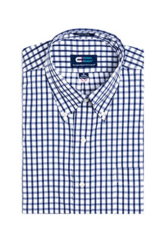 Image of MagnaReady Magnetically Infused Navy & White Grid Mens Long Sleeve Dress Shirt
